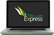 Laptop with title loan express logo